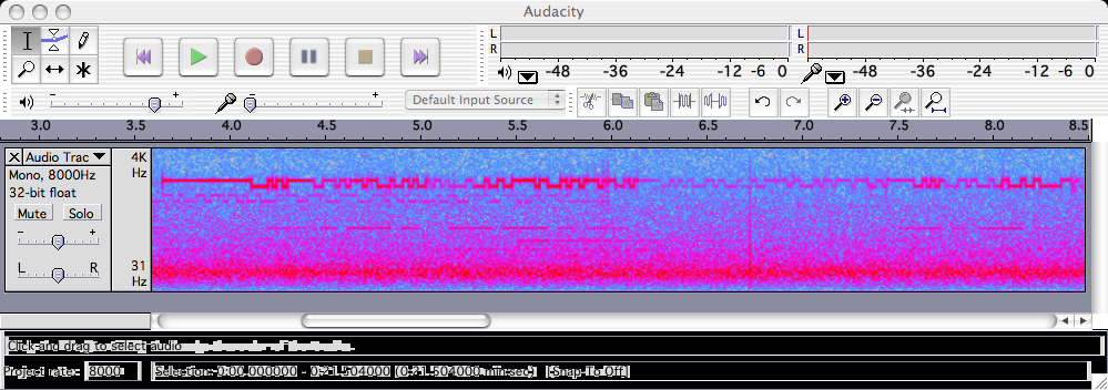 RTTY viewed as a spectrum in Audacity
