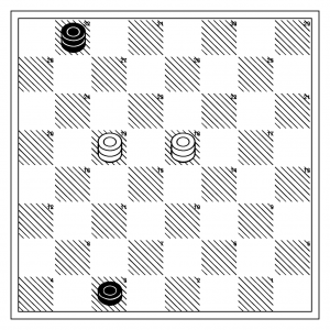 White to move and win, position analyzed by Payne in 1756 in the first English book on checkers...